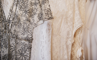 Lace wedding dresses on display