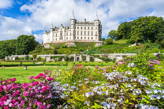 The beautiful Dunrobin Castle in a magnificent sunny day, Sutherland, Scotland, Britain