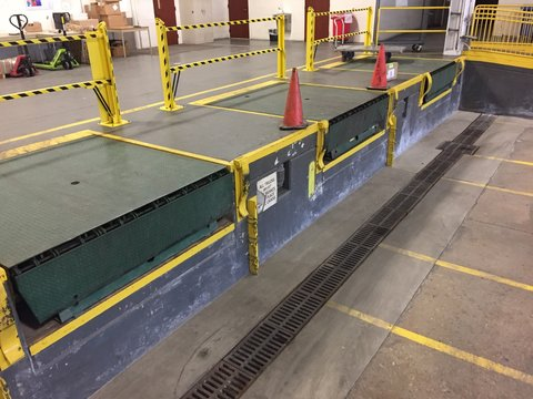 Three bay loading dock inside factory