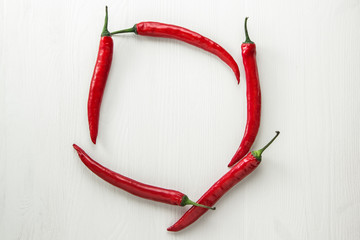 red hot peppers on a white background
