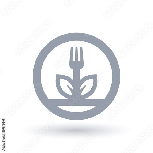 Fork and leaf plant icon in circle outline  Plant diet symbol  Vegan