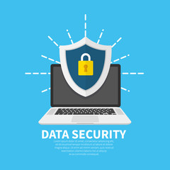Wall Mural - Data security flat illustration concept. Laptop with shield and lock. Flat cartoon design, vector illustration on background.
