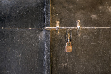 Lock on an Old Metal Black Door, Space for Text