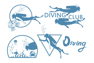 Scuba-diving. Vector Diver logo.