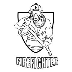 Firefighter logo. Fire Department. Human with firefighter helmet.