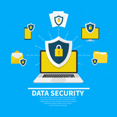 Wall Mural - Data Security concept. Creative flat icons set, icons set graphic elements for web banners, web sites, infographics. Laptop with shield and lock. Flat cartoon design, vector illustration on background