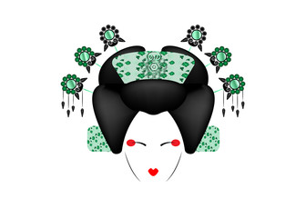 Geisha Portrait of Japanese or asian girl, traditional style with Japanese hairstyle, madama butterfly doll, Chinese or Japanese culture, fashion Peking Opera Doll, green luxury vector illustration