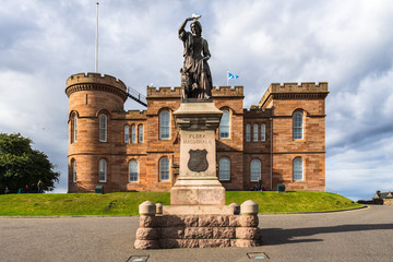 The statue of Flora MacDonald in front of Inverness Castle. Inverness, Scotland, Britain, August 2017