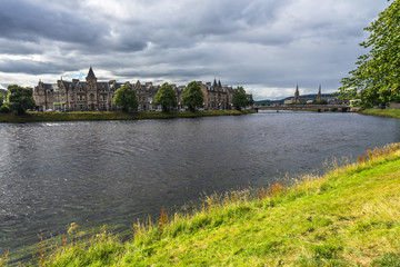 View of Inverness from the banks of River Ness, Scotland, Britain
