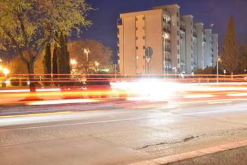 Night Traffic in an Urban City, Long Exposure