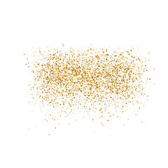 Gold sparkles on white background.  Luxury golden shiny abstract texture. Vector illustration, EPS 10.