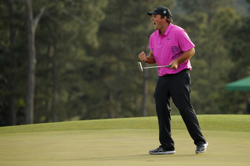 Patrick Reed of the U.S. celebrates winning the 2018 Masters golf tournament in Augusta