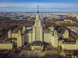 aerial moscow state university on a sunny spring day panorama view