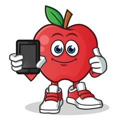 apple holding phone mascot vector cartoon illustration