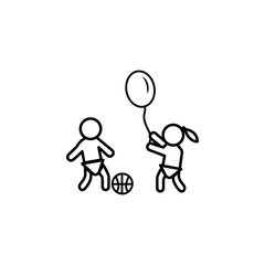 kids are playing icon. Element of baby and toys for mobile concept and web apps. Thin line  icon for website design and development, app development. Premium icon
