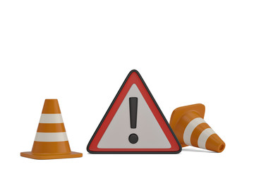 Warning sign and traffic cones on a white background. 3D illustration.