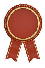 Red ribbon award isolated on white background. 3D illustration.