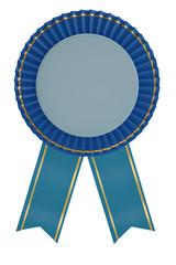Blue ribbon award isolated on white background. 3D illustration.
