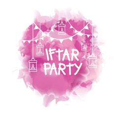 Iftar Party watercolor Design. Ramadan Celebration, Vector Illustration for greeting card, poster and voucher.
