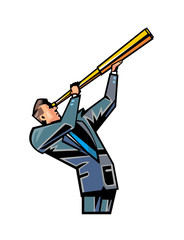 Side view of man holding telescope