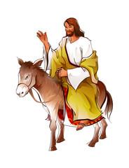 Side view of Jesus Christ sitting on donkey
