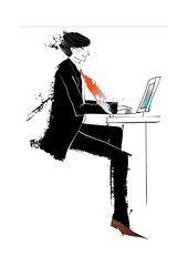 Side view of man with laptop