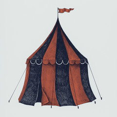 Hand drawn circus tent isolated on background