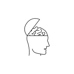 open head with brain icon. Element of idea and solutions for mobile concept and web apps. Thin line  icon for website design and development, app development. Premium icon