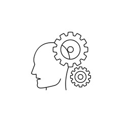 head and gears icon. Element of idea and solutions for mobile concept and web apps. Thin line  icon for website design and development, app development. Premium icon