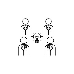 a light bulb in the center of people icon. Element of idea and solutions for mobile concept and web apps. Thin line  icon for website design and development, app development