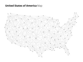 USA country map globe illustration in blockchain technology network style. Block chain polygon peer to peer network connected lines technique. Cryptocurrency fintech business concept.