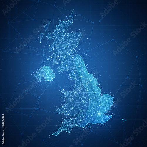 Polygon United kingdom map with blockchain technology peer to peer