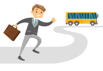 Caucasian white late businessman with briefcase running for an outgoing bus. Young latecomer man running to reach a bus. Vector cartoon illustration isolated on white background. Horizontal layout.