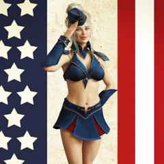 American themed vintage pin up girl. 3d rendering