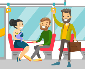 Young caucasian white people traveling by public transport. Cheerful passengers sitting and standing in commuter bus. Vector cartoon illustration isolated on white background. Square layout.