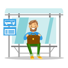 Young caucasian white businessman with briefcase waiting at the bus stop. Happy hipster man with beard sitting at the bus stop. Vector cartoon illustration isolated on white background. Square layout.