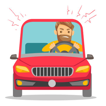 Angry caucasian white man in a car stuck in traffic jam. Irritated young hipster man with beard driving a car in a traffic jam. Vector cartoon illustration isolated on white background. Square layout.