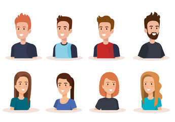 young people avatars characters vector illustration design