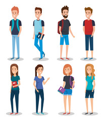 group of students with books vector illustration design
