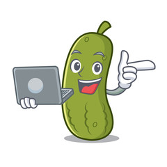 With laptop pickle character cartoon style