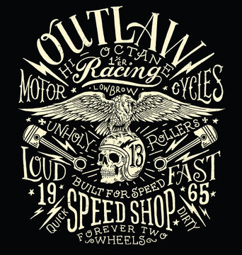 Outlaw Motors Vintage T-shirt Graphic