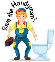 Sam the handyman fixing the toilet