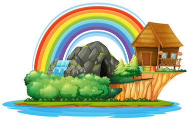 Background scene with wooden hut and waterfall on island