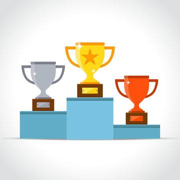 winners podium on white background