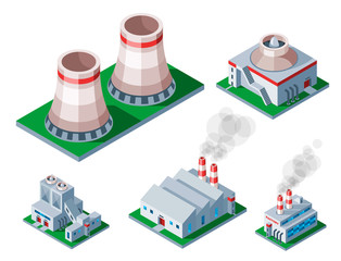 Isometric factory building icon industrial element warehouse architecture house vector illustration