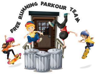 Happy kids doing free running