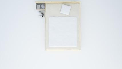 Bed top plan white background - 3d rendering minimal japanese
