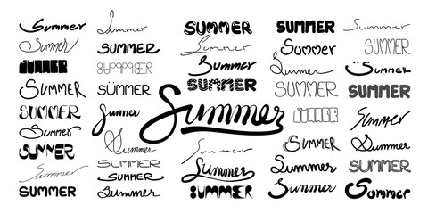 "Set of hand lettered text ""Summer"" in 42 styles."