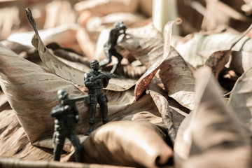 Close up image of  toy military army on battle field