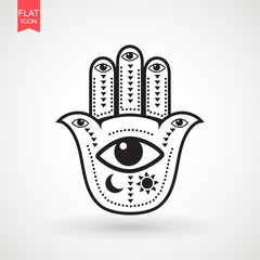 Hamsa or hand of Fatima, good luck charm, eps10 . Vector Indian hand drawn hamsa symbol. vector illustration.